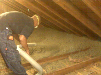 Blown in rockwool insulation